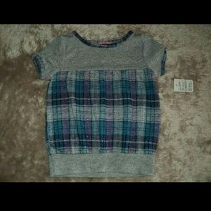 ⬇⬇ Glitter Shimmer Plaid Top Girls 24 months